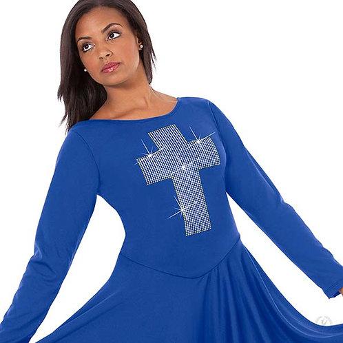 11027 - Eurotard Womens Front Lined Long Sleeve Praise Dress with Metallic Cross