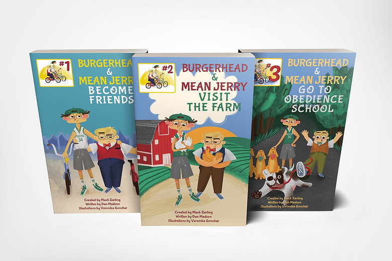 Burgerhead and Mean Jerry book covers 1-