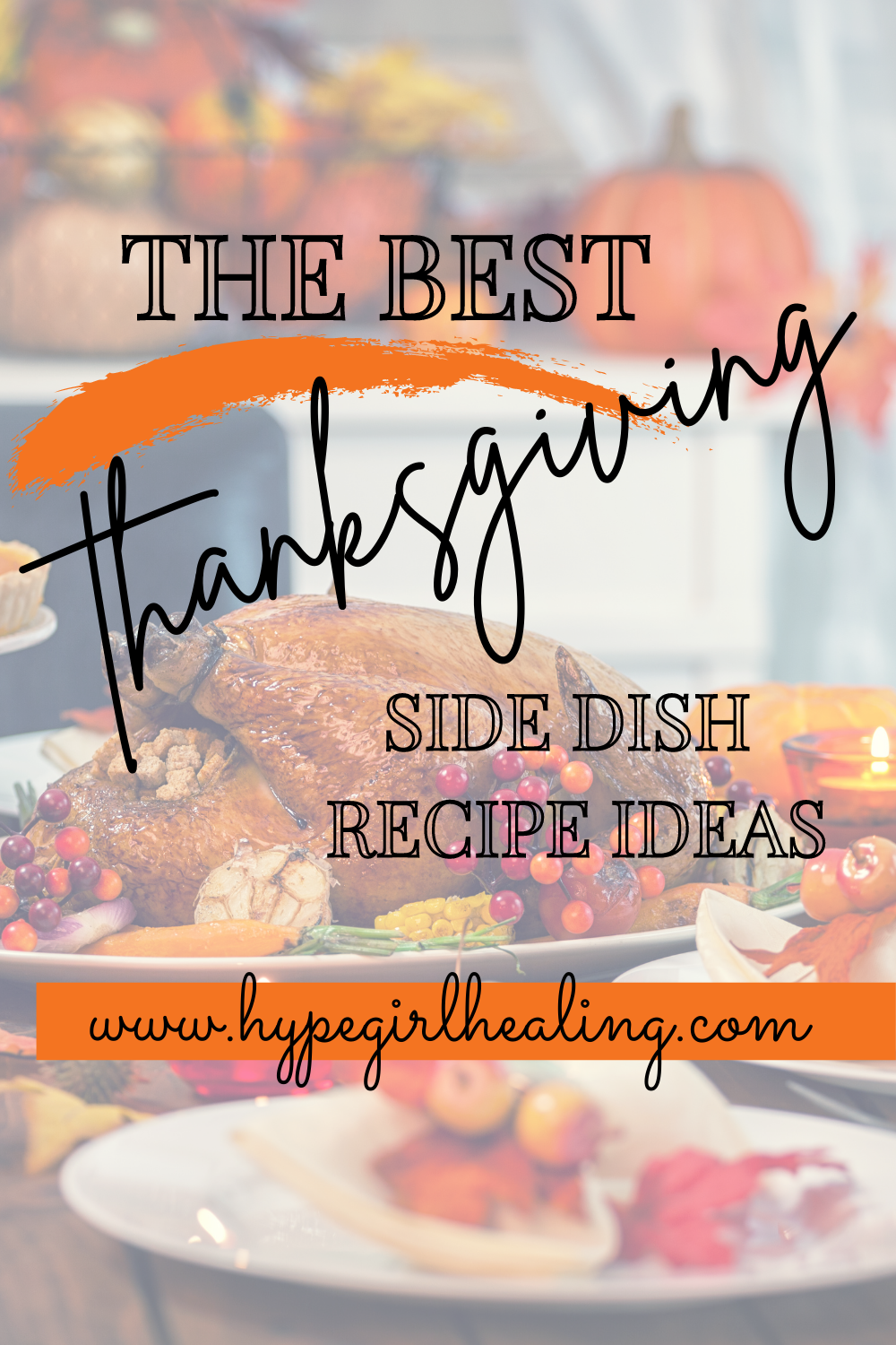 Thanksgiving turkey with healthy side dishes on a table for the holidays