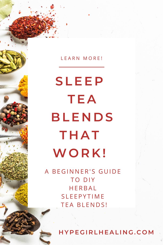 dried herbs in metal spoons for sleep tea blends
