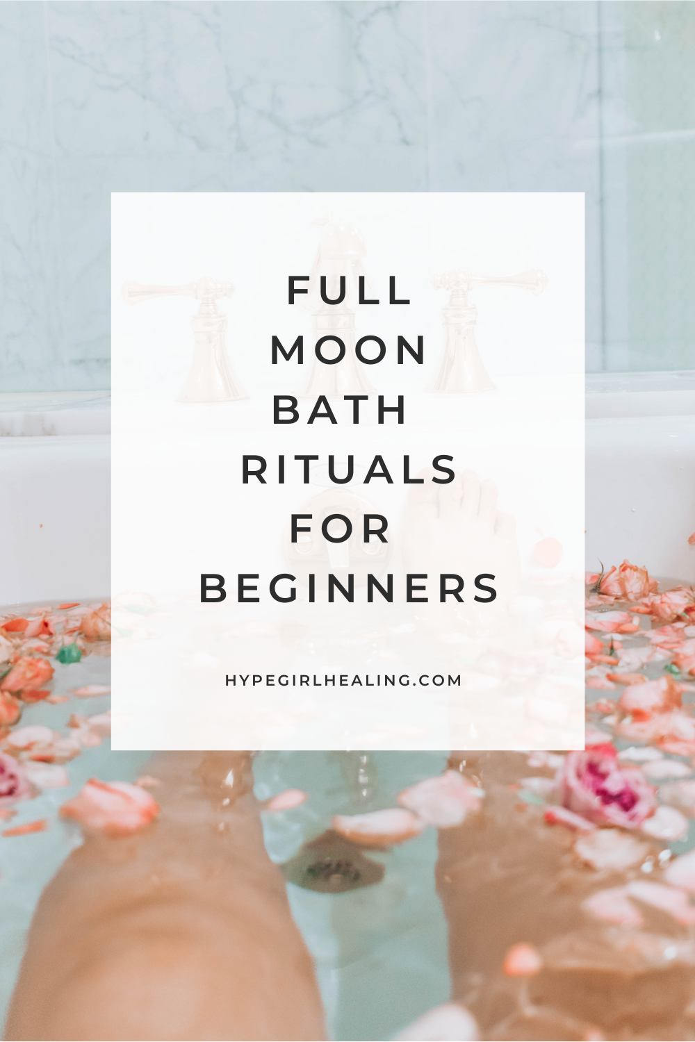 bath with legs from the knees down with pink petals for full moon bath ritual