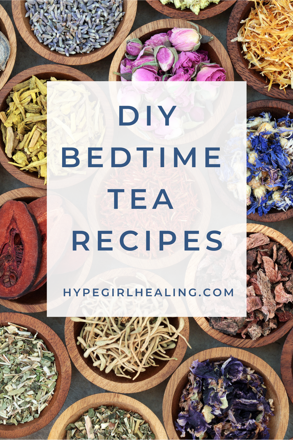 dried herbs in wooden bowls for bedtime tea recipe