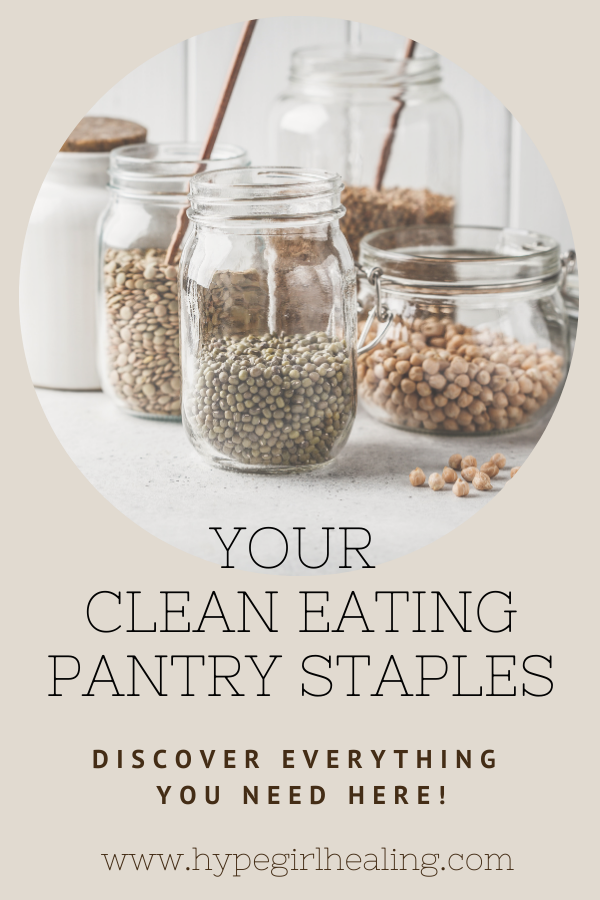glass jars on pantry shelves for clean eating items
