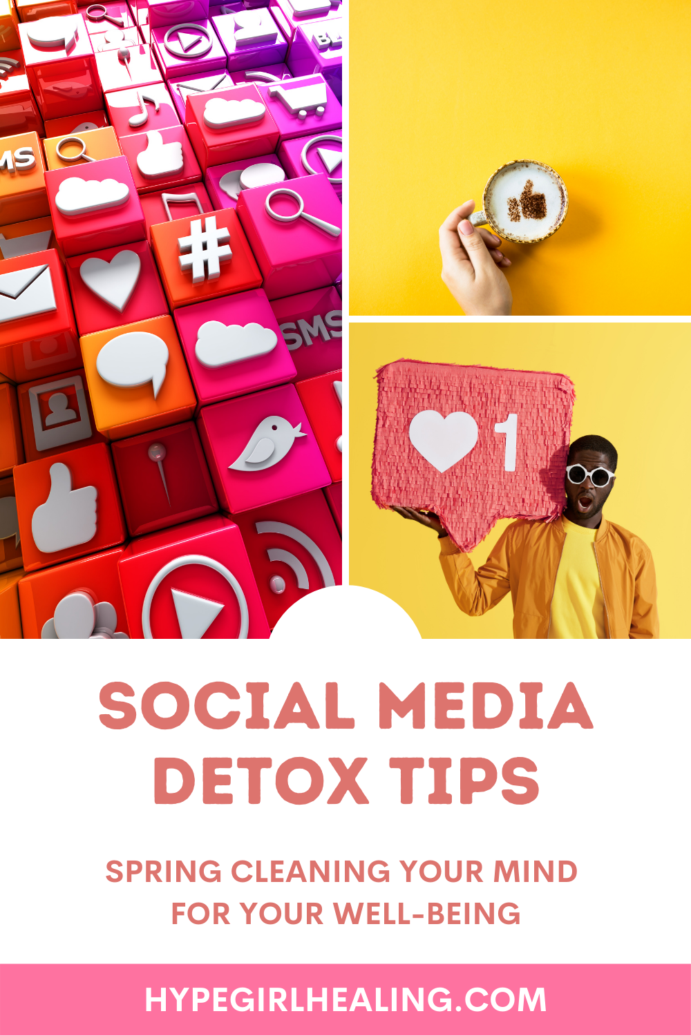"""colorful social media icons with  man holding a """"like"""" button on his shoulder for a social media detoxing blog"""