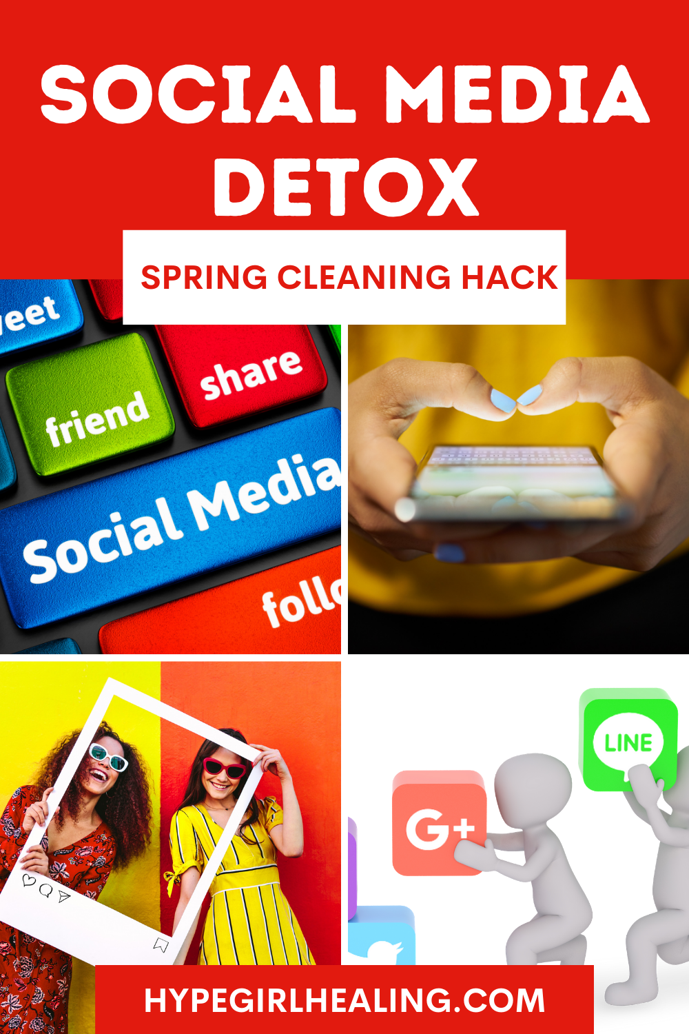 colorful social media icons and two girls standing inside an Instagram border for a social media detoxing blog