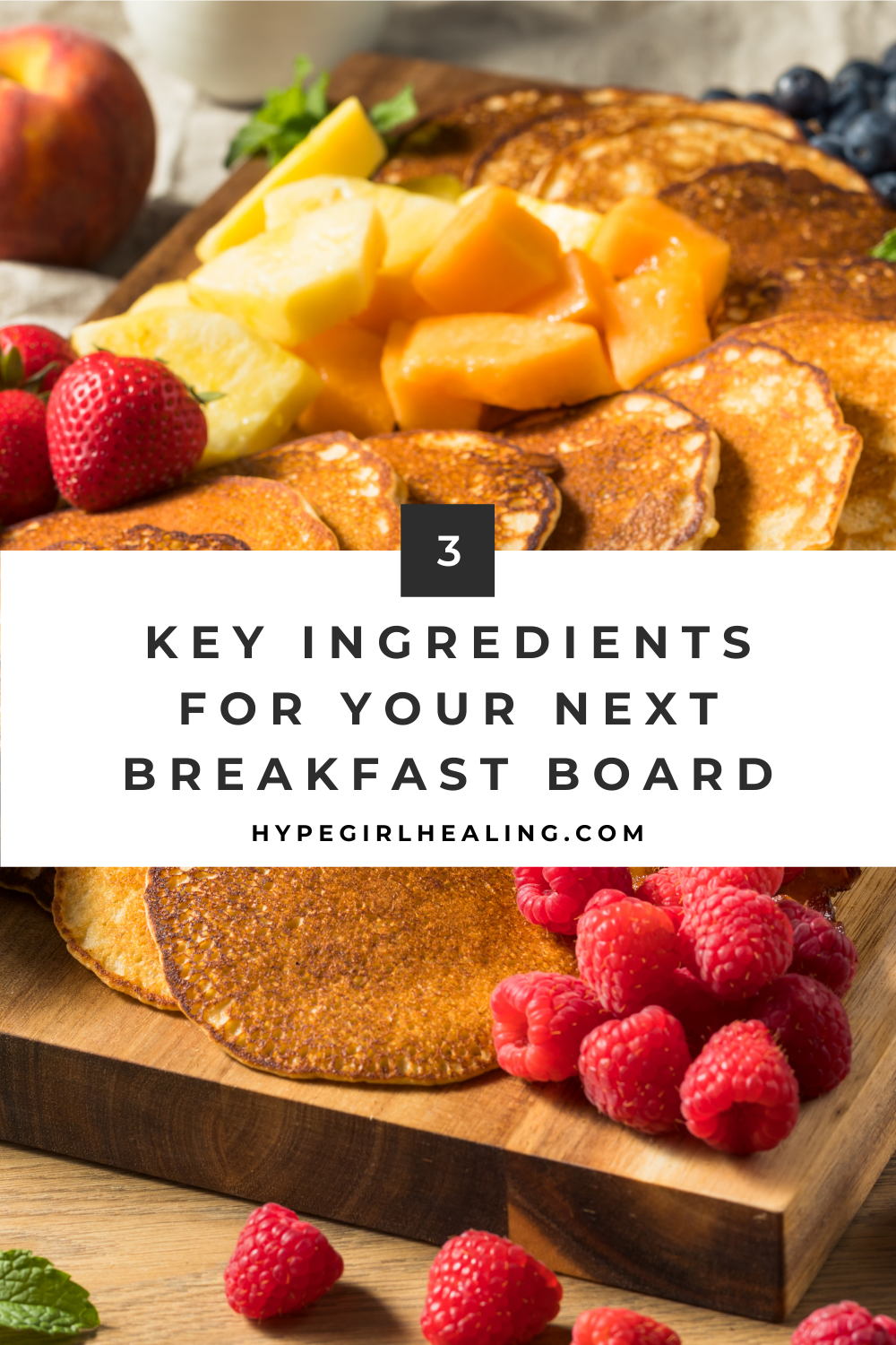 pancake breakfast board with berries and melons