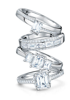 A stack of rings from our range of Gold Diamond and Precious Stone Jewellery