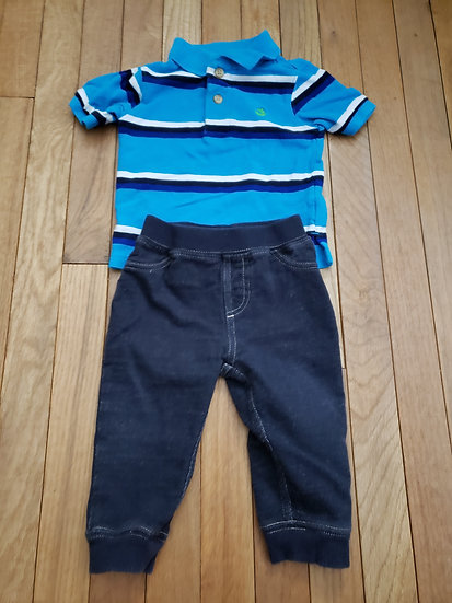 6-9 month Blue Polo and Jean's Outfit