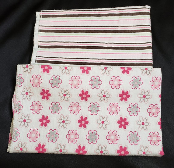 2 pack Pink Flowers and Stripes Receiving Blankets