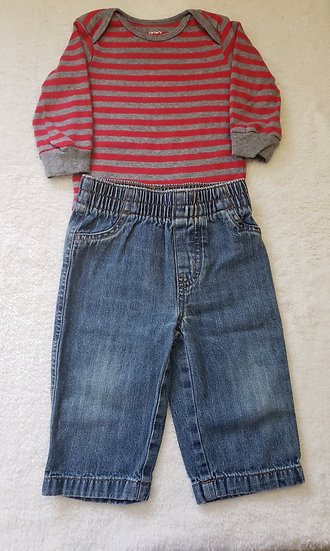 9 month Red Striped Outfit
