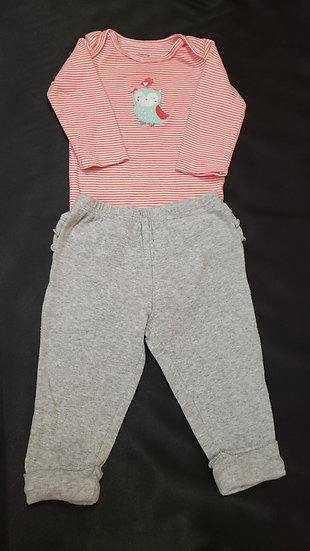 6 month Pink Striped Long Sleeve Outfit