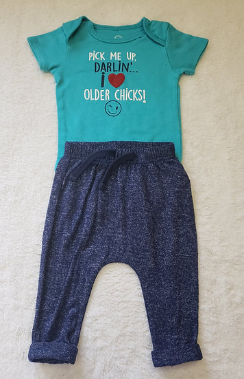 3-6 month Blue Saying Outfit