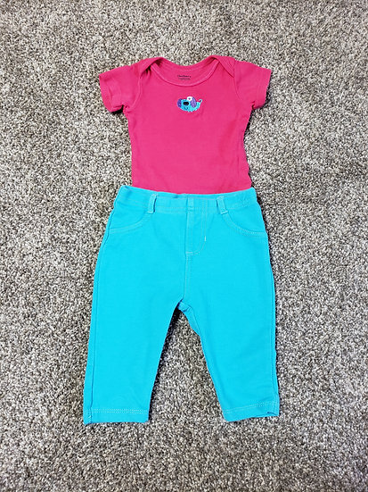0-3 month Pink and Blue Outfit
