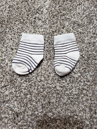 White and Gray Striped Socks