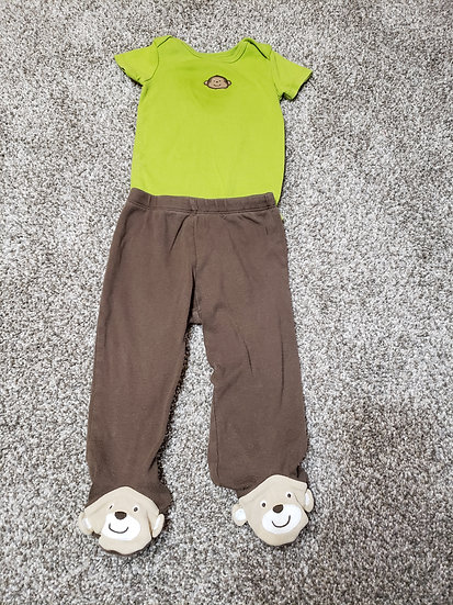 9 month Carter's Green Monkey Outfit