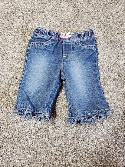 0-3 month Jumping Beans Jeans with Pink Bow