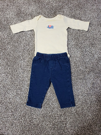 0-3 month Yellow Onesie and Jean's Outfit
