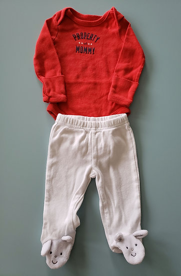 NB Red Property of Mommy Outfit