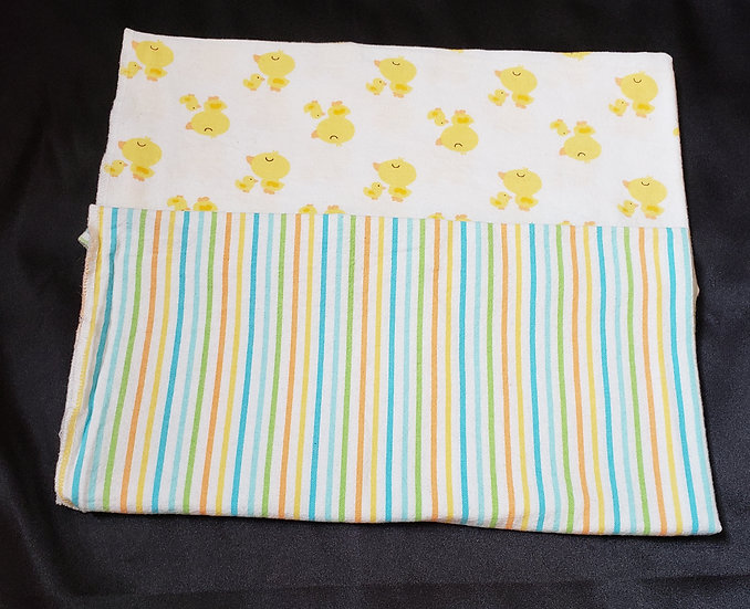 2 pack Ducks and Striped Receiving Blankets
