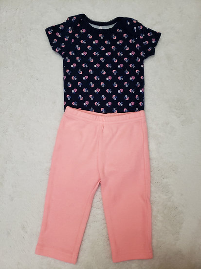 3 month Pink and Navy Flower Outfit