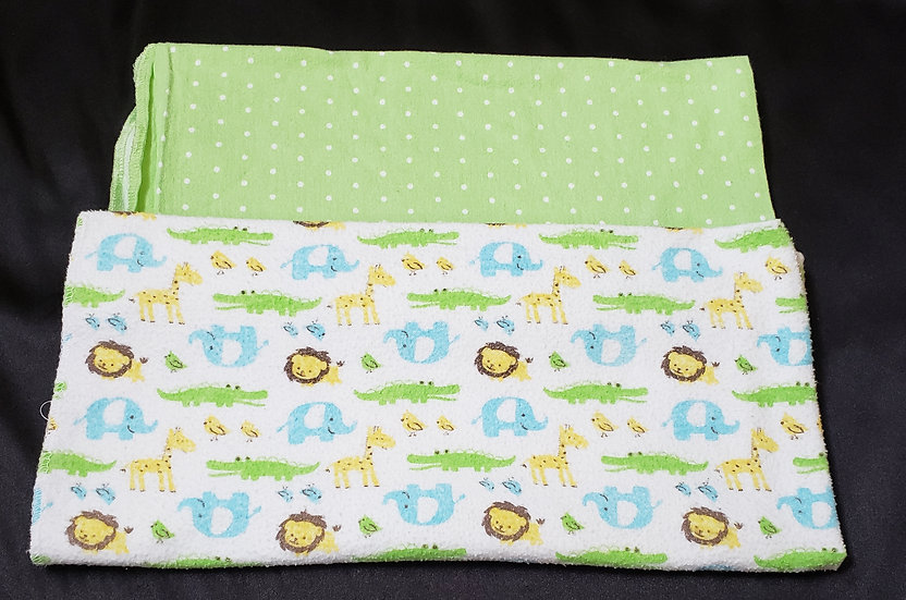 2 pack Green and Zoo Animals Receiving Blankets