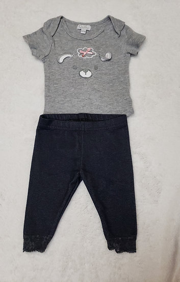 0-3 month Gray Onesie and Leggings Outfit