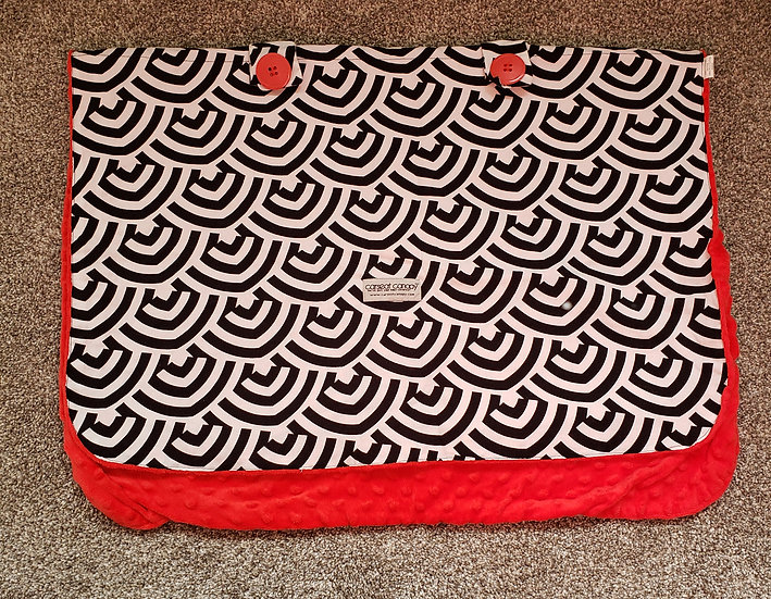 Car Seat Canopy Red,Black, and White