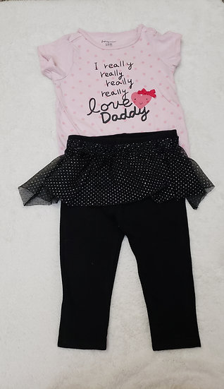 12 month Pink and Black Outfit