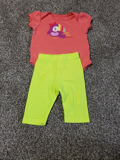 """0-3 month """"too too cute"""" outfit"""