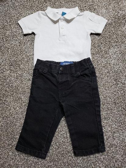 3-6 month White Polo Outfit