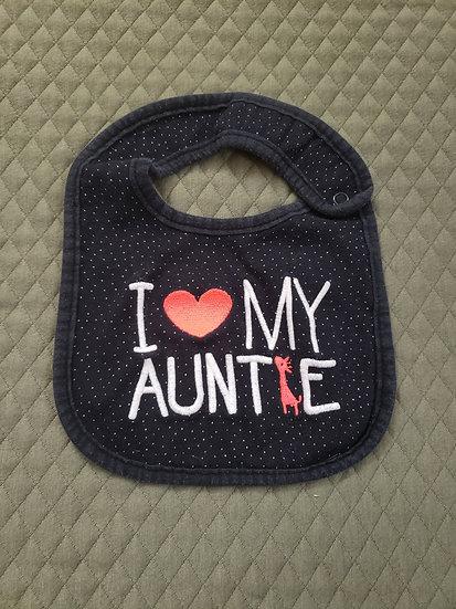 I Love My Autie Black Bib