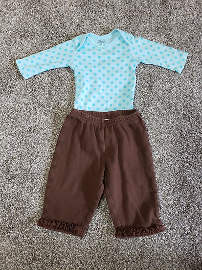 3-6 month Blue and Brown Long Sleeve Outfit