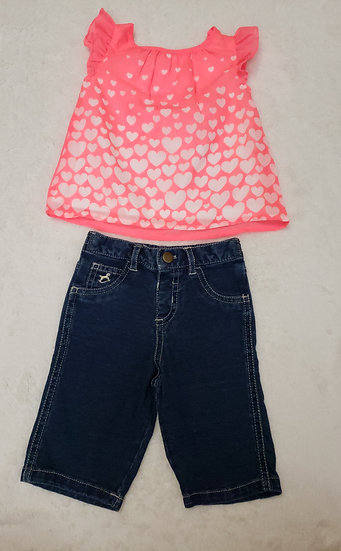 0-3 month Pink Shirt and Jean Outfit