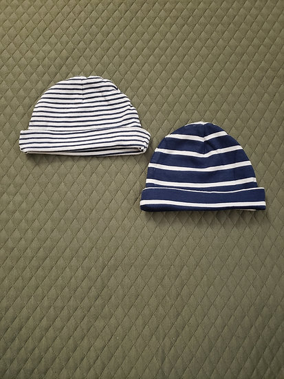 0-6 month Gerber Navy and White Striped Hats