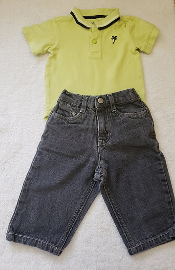 12 month Green Polo Outfit
