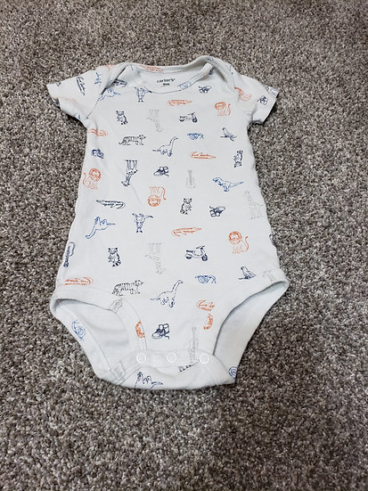9 month Carter's White Zoo Onesie