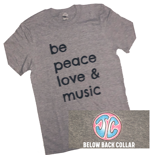 "Grey ""Be Peace, Love, and Music"" T-shirt"