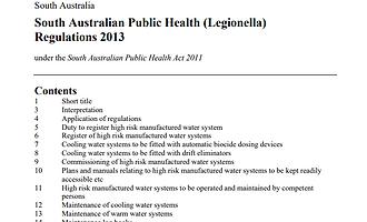 sa public and environmental health legionella regulations 2013