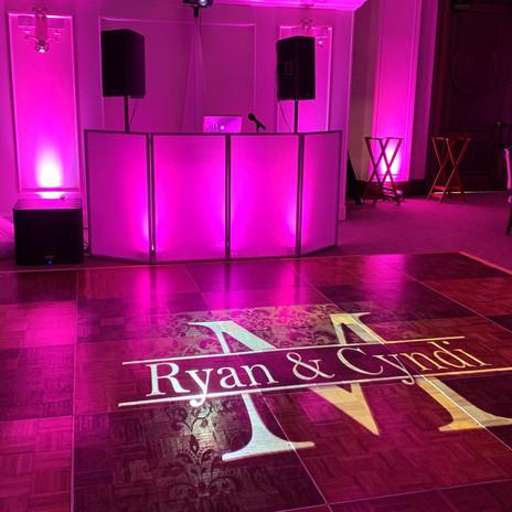 DJ Setup with Bride & Grooms name in lig