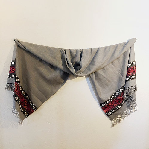 Gray wool scarf with border