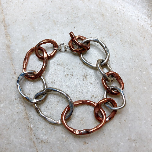 Copper and silver link bracelet