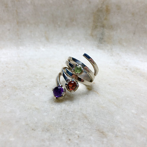 Swirling bubbles multi stone silver ring