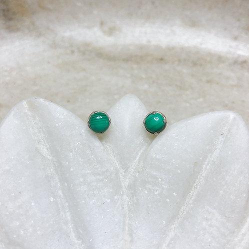 Malachite silver stud earrings