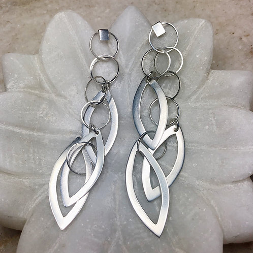 Hanging shapes silver post earrings