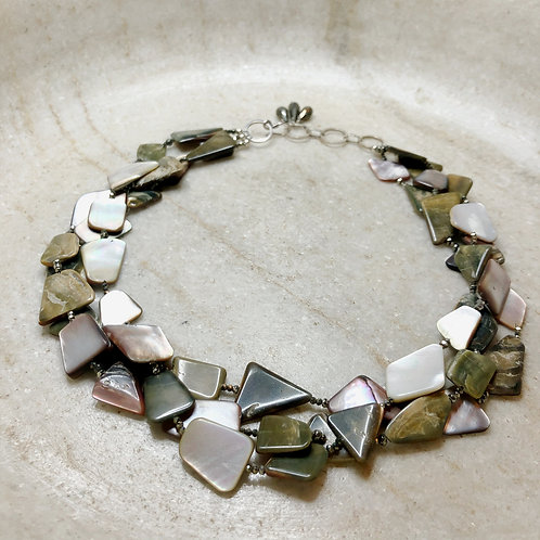 Abalone and pyrite silver necklace
