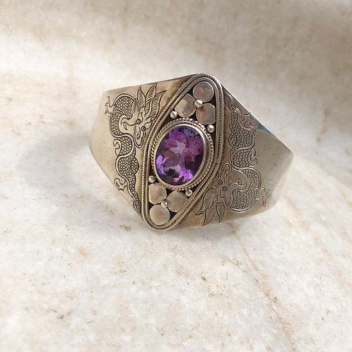 Amethyst dragon silver cuff bracelet