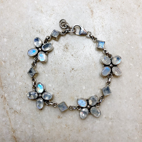 Flowers in rainbow moonstone bracelet