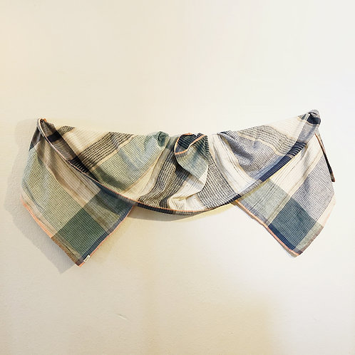 Green and black in khadi cotton scarf