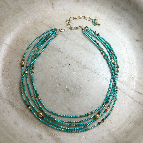 Turquoise and opal gold necklace