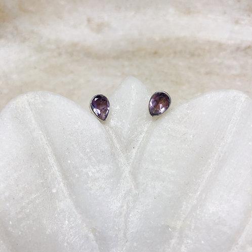 Amethyst teardrops silver stud earrings